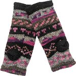 Fleece Lined Fingerless Hand Warmers in Pink