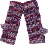 Purple Woolen Hand Knit Wrist and Hand Warmers