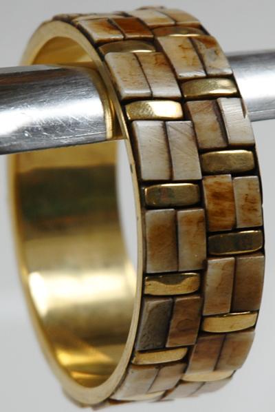 Gold Elephant Wrist Ring Bracelet, Golden Ivory Boho Bracelet