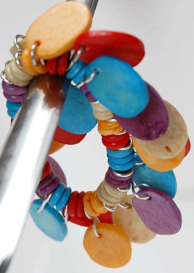 Wood Chips Colorful Bangle, Rainbow Wood Rings Fashion Bracelet