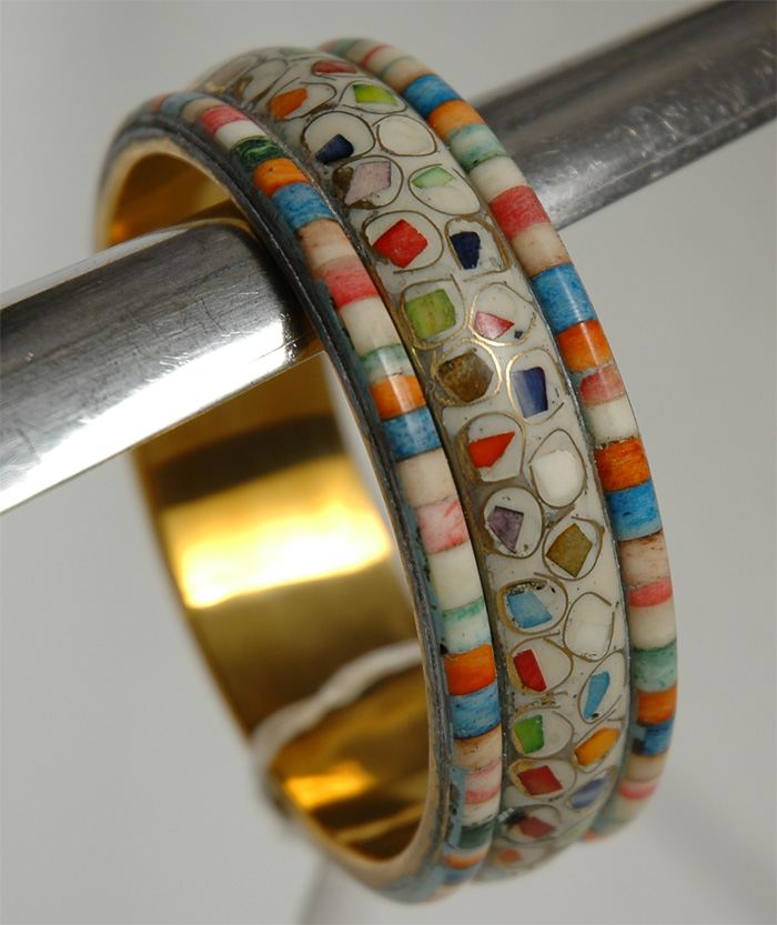 White and Colors Hand Ring, White Mosaic Colorful Bracelet