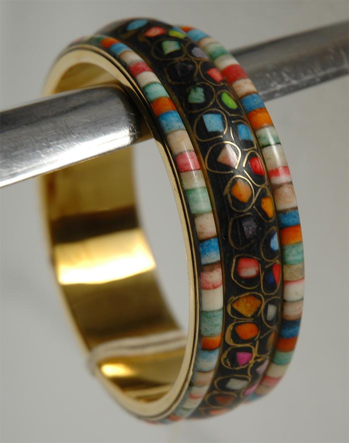 Colorfully Black Wrist Band, Mosaic Colorful Black Bracelet