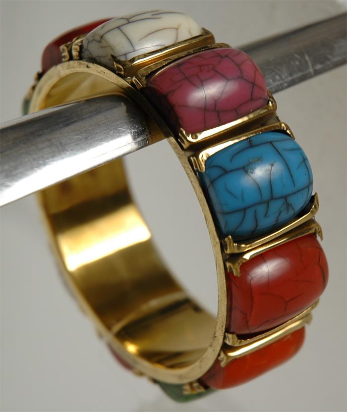 Big Stone Colorful Kada, Large Stone Bracelet