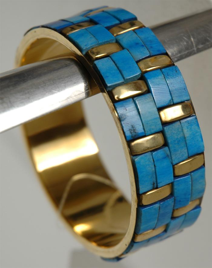 Blue Stones Bracelet, Turquoise Bricks Fashion Bracelet