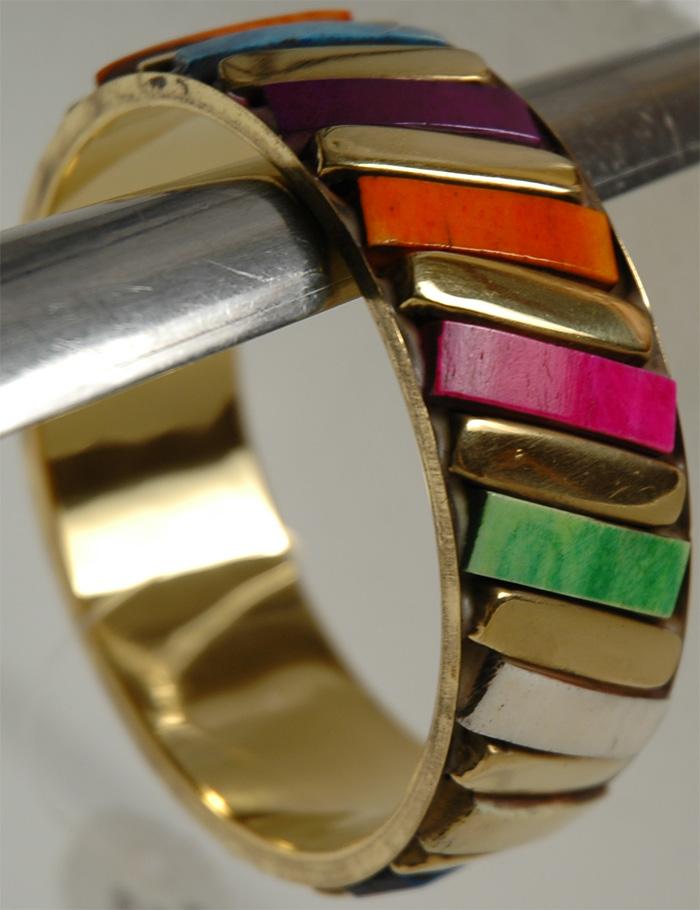 Colorful Stones Bracelet, Multicolor Bricks Gold Bracelet