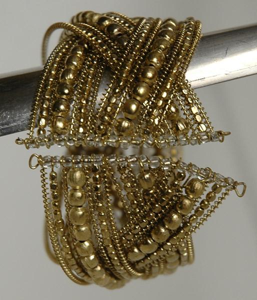 Criss Cross Golden Beaded Fashion Bracelet