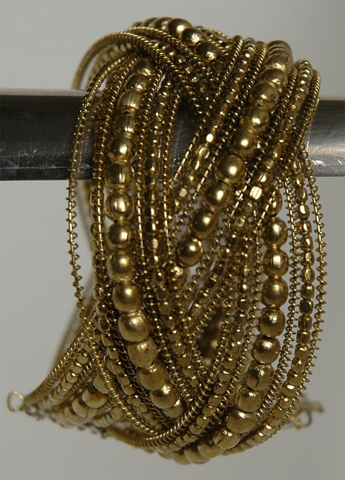 Gold Entwined Bracelet, Criss Cross Golden Beaded Fashion Bracelet
