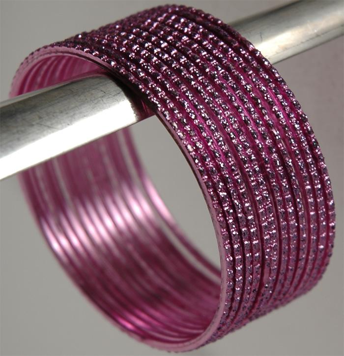 Pink Metal Bracelet, Pink Shine Bracelet Set