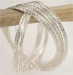 Silver Interlocking Bangle Bracelets