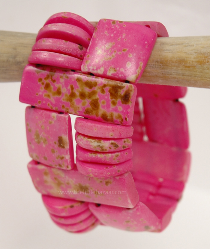 All the Shapes Stretch Bracelet, Pink Bohemian Bracelet for Women
