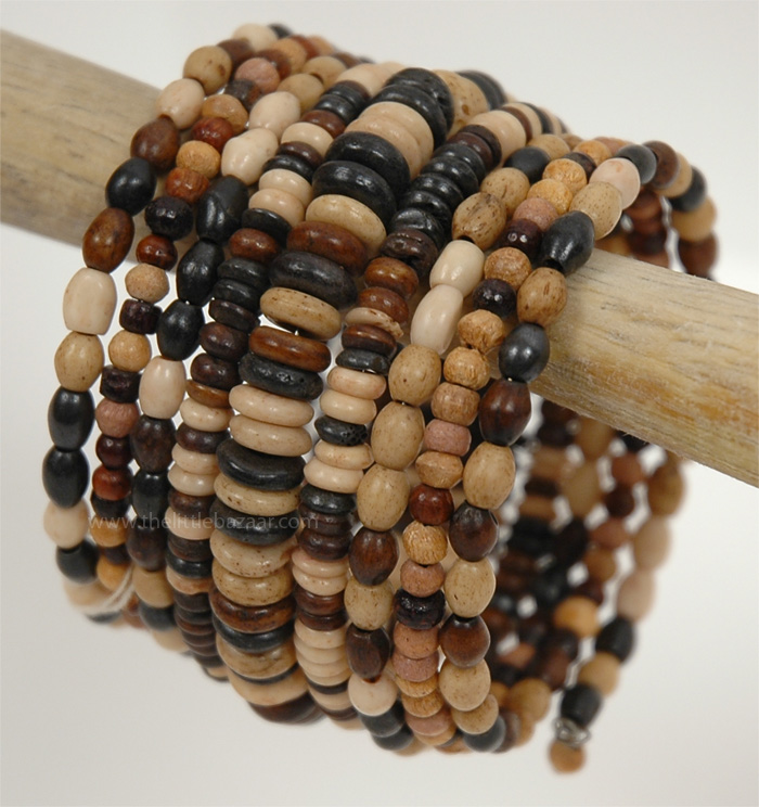Wood Colored Beads Bracelets, Natural Wood Look Statement Bracelet