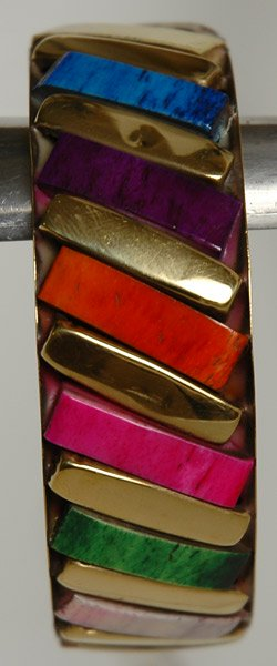 Multicolor Bricks Gold Bracelet