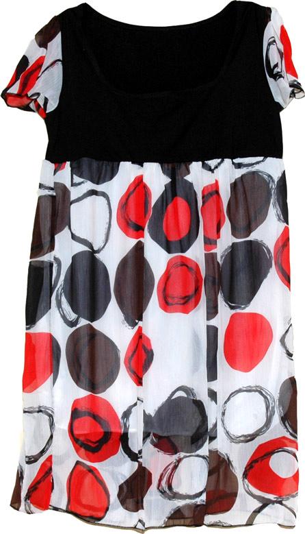 Flirtatious Red Black Chiffon Dress, Summer Chiffon Red Black Polka Dress