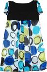 Summer Chiffon Blue Yellow Polka Dress
