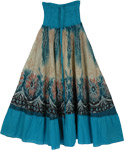 Sandal Blue Mosaic Smock Boho Skirt