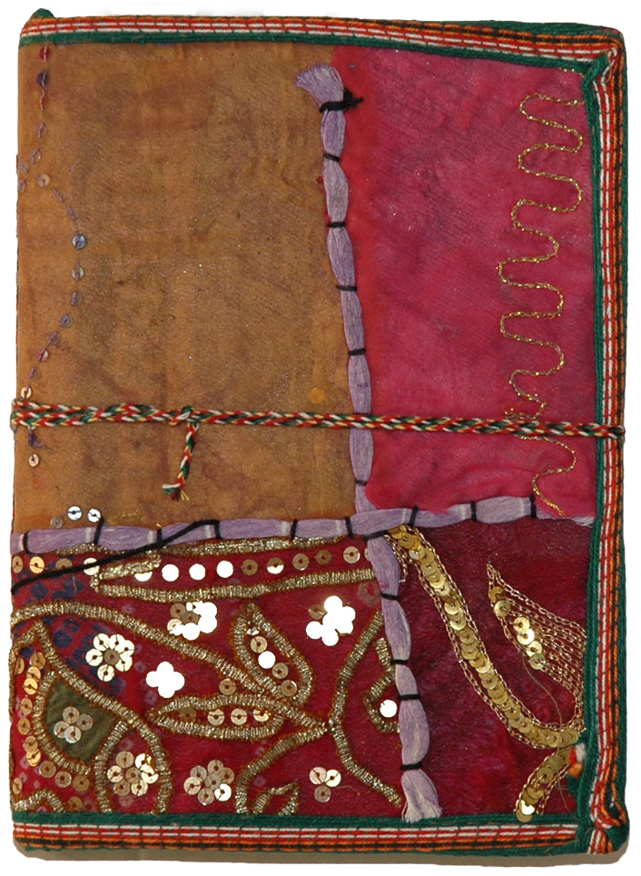 Handmade Paper Ethnic Cover Travel Diary, Sequin Patchwork Handmade Paper Notebook Diary Large