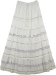 White Silver Sequin Deco Long Skirt
