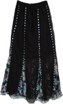 Bohemian Sequins Chiffon Black Skirt