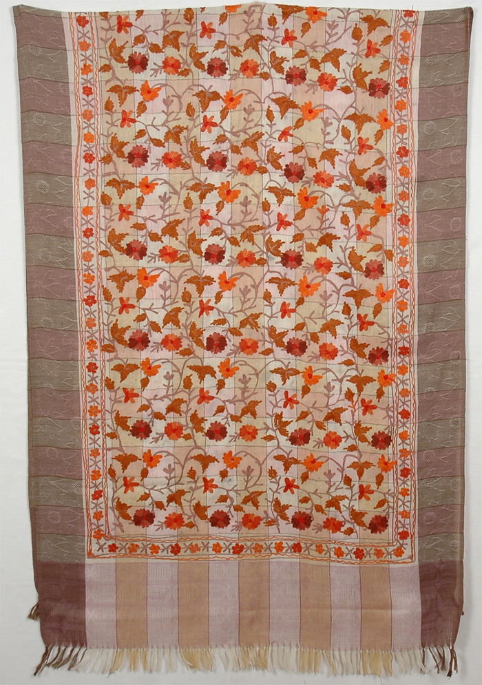 Square Knit Embroidery Shawl, Floral Embroidery Shawl Stole