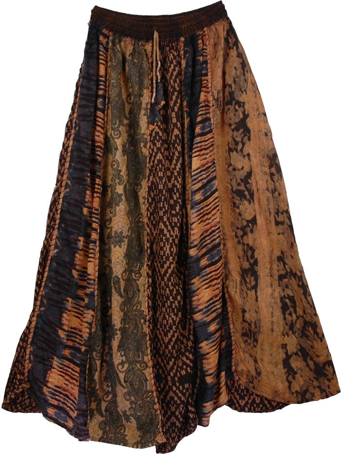 Ethnic Long Patchwork Skirt , Designer Panel Gypsy Long Skirt