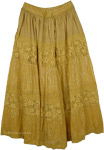 Elegant Chartreuse Alpine Long Skirt