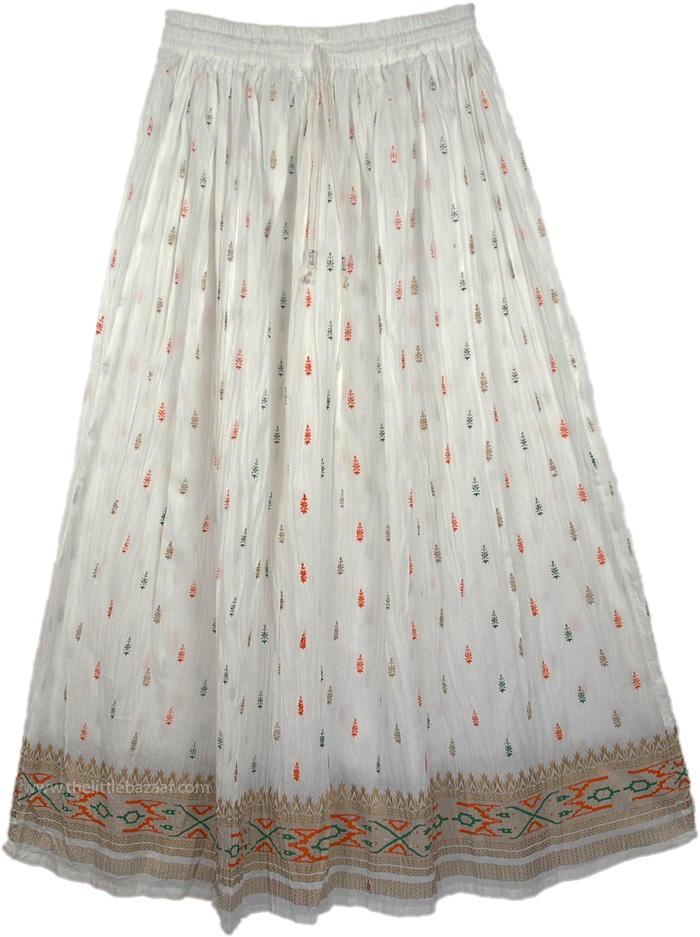 Golden White And Orange Ethnic Skirt, Crinkle Holiday White Skirt
