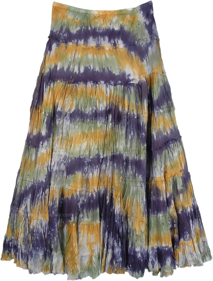 Dazzle Summer 3 Colors Long Skirt, Woodland Dip Dyed Tiered Long Skirt