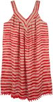 XL Beach Dress in Pomegranate and Beige Stripes