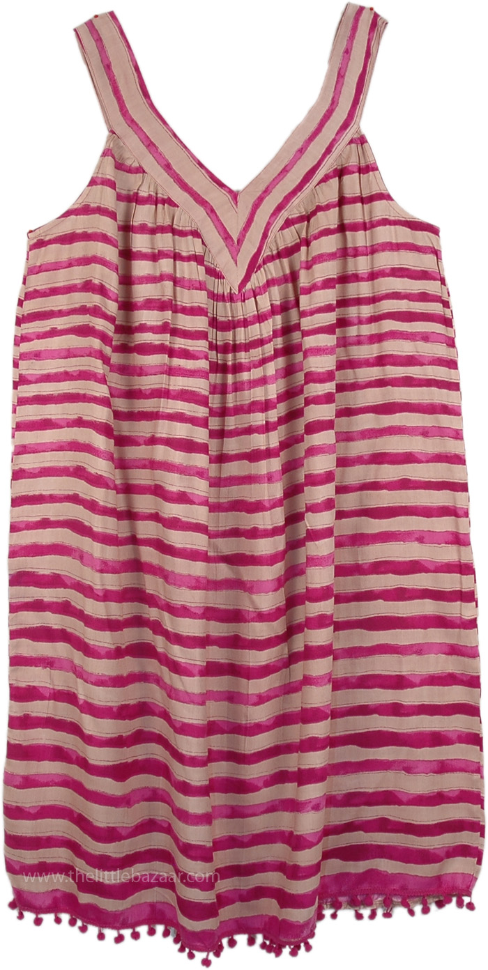 XL Tank Dress in Hibiscus and Beige Stripes