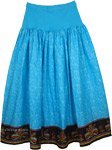 Fountain Blue Spandex Stretch Waist Cotton Summer Skirt