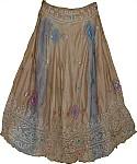 Boho Silk Skirt with Sequins