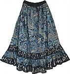 Blue Paisley Long Skirt