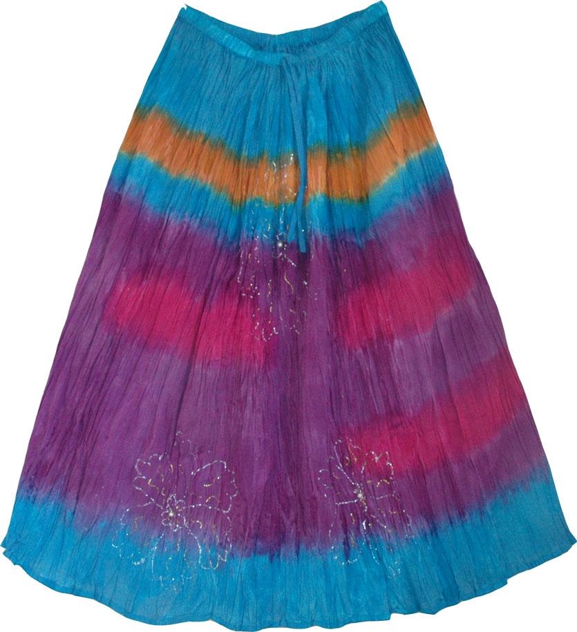 Tie Dye Long skirt , Tie Dye Skirt in Summer Colors