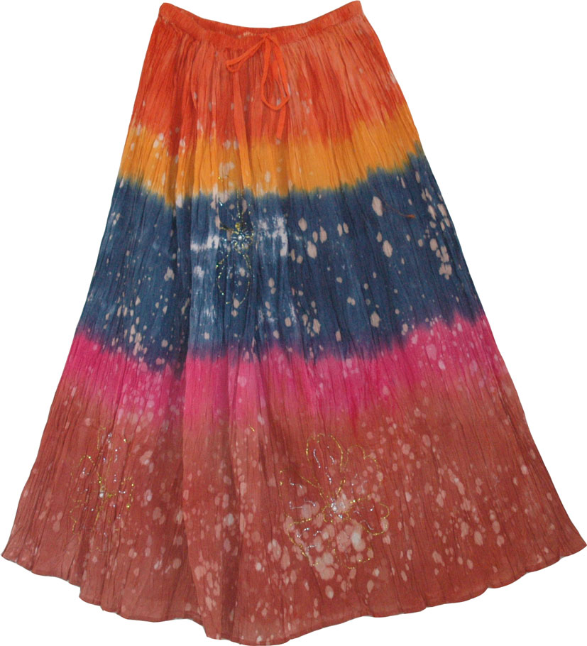 Tie Dye Long Skirt , Tie Dye Skirt in Summer Colors