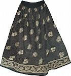 African Boho Black Long Skirt