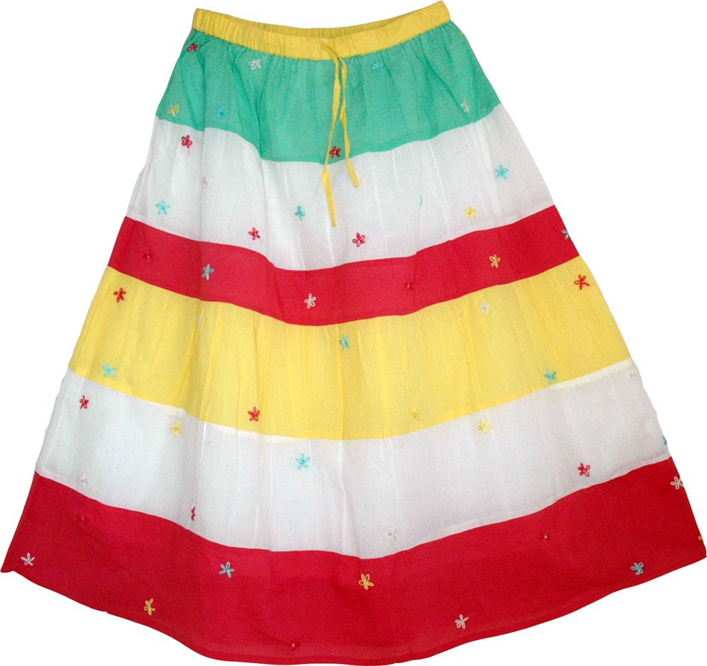 Summer Long Skirt, Cotton Pastel Long Skirt