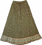 Olive Green Cotton Voile Skirt