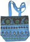 Hand Embroidered Shoulder Bag with Mirrors in Blue