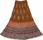 Brown Cotton Long Skirt