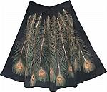 Tropical Rainforest Peacock Black Skirt
