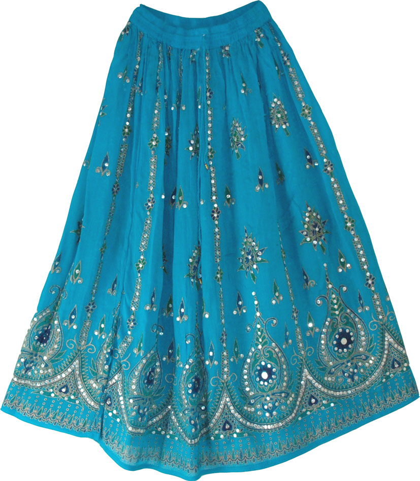 Sequined cotton long lady skirt in blue, Bondi Blue Sequin Skirt