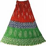 Red Batik Print  Long  Summer Skirt