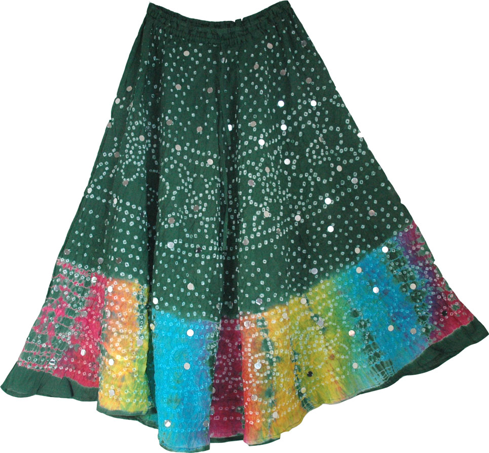 Plantation Green Ethnic Cotton Skirt