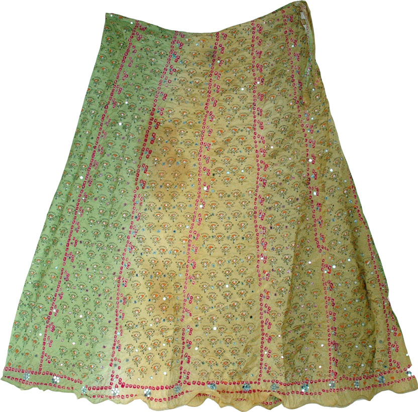 Shaded Boho Fashion Silk Skirt, Boho Shaded Silk Skirt
