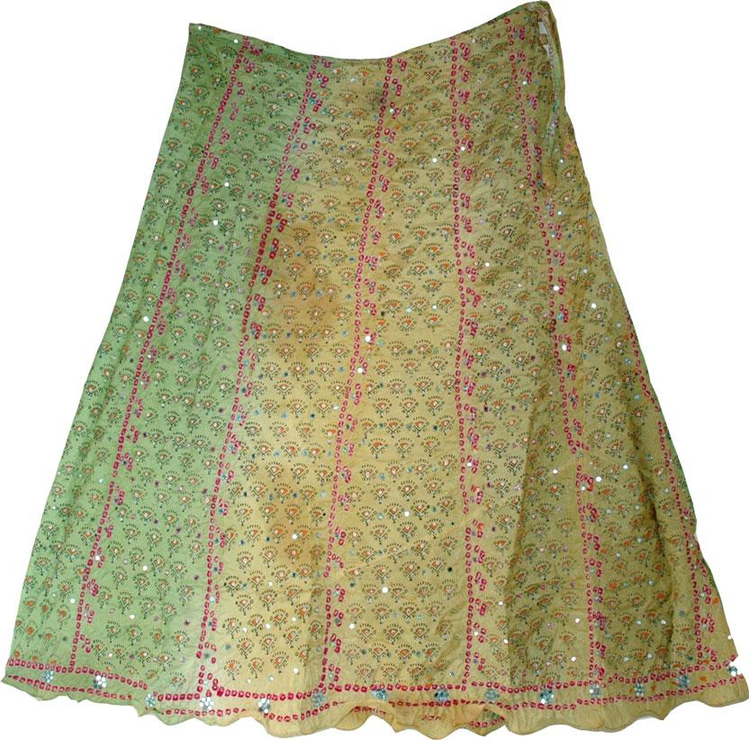 Shaded Boho Fashion Silk Skirt, Boho Shaded Silk Skirt