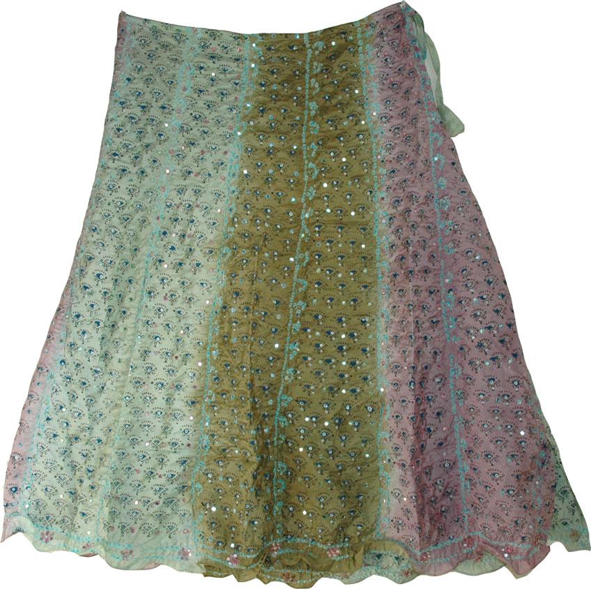 Shaded Fashion Silk Skirt, Shadow Shaded Silk Skirt