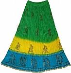 Forest Green Crinkle Long Summer Skirt