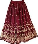 Wine Berry Golden Block Long Skirt