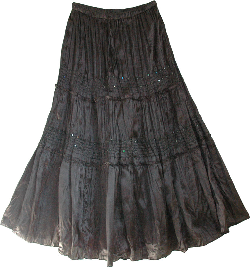 Sequined Black Satin Skirt
