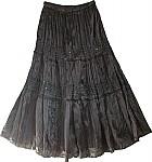 Sequined Black Satin Skirt